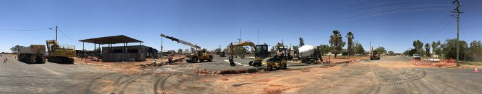 Road construction panorama